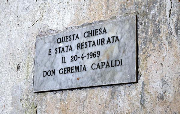 Capaldi Plaque Chiesa di San Giuseppe